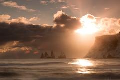 Explosion (Sophie Carr Photography) Tags: sunset vik beach sunburst iceland goldenhour mountains stacks geology longexposure wave
