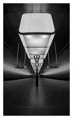 Lichtcontainer [Explored 2018-02-15] (T.Seifer : )) Tags: architecture blackandwhite blackwhite bw metro station subway hamburg lines light fx geometry symmetry modern beams indoors tourism whiteandblack whiteblack weisschwarz