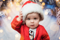 Will - 11 months old (Katherine Ridgley) Tags: toronto torontobaby baby child toddler kid infant christmas santa red hat penguin cute adorable sweet portrait babyboy boy winter holiday holidays seasonal xmas santaclaus santahat cutebaby indoor indoors bokeh twinkle sparkle
