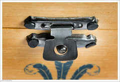 Fastener - HMM (John Penberthy LRPS) Tags: 105mm d750 johnpenberthy nikon box clasp closeup fastener macro macromondays metal teacaddy wood
