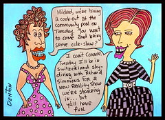 Cartoon Drawing (swampzoid) Tags: cartoon women female funny conversation mildred connie richard simmons richardsimmons gay dragqueens swampzoid markdenton pencil color pen ink ladies silly