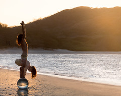 beach yoga (marianna_a.) Tags: beach sunset yoga composite crystal ball sphere reflection light man person single sun costarica mariannaarmata