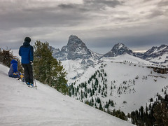 skier and boarder enjoying the Teton view (maryannenelson) Tags: wyoming tetons grandtarghee landscape winter peaks mountains ski snowboard snow