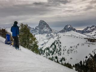 skier and boarder enjoying the Teton view
