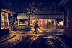 Pennsylvania (KennardP) Tags: cityatnight citylights handheldnightphotography pennsylvania canon5dmarkiv 5dmarkiv sigma50mmf14dghsmart sigmaartlens canon people couple snow nightlights car road store shopping buckscounty