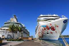 """Enchantment of the Seas' & ""Norwegian Pearl"" (Rick & Bart) Tags: cruise cruiseship travel rickvink rickbart canon eos70d royalcaribbean enchantmentoftheseas ship nature transport sun theglamorouslifelatincruise nassau bahamas isle norwegianpearl princegeorgewharf"