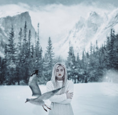 Cold (Alexander Shark) Tags: girl portrait dark darkness winter snow white mountains air sky sweater countryside february bird field trees forest