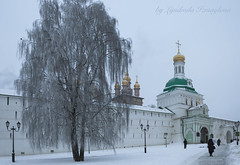 The main entrance to the Trinity Sergius Lavra (Lyutik966) Tags: sergievposad monastery entrance trinitysergiuslavra russia winter snow religion orthodoxy church tree wall architecture