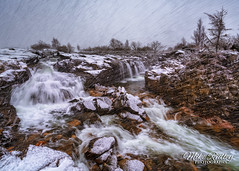 Snow falls ... (Mike Ridley.) Tags: glencoe scotland winter snowstorm snow water waterfall umbrella sonya7r2 nature mikeridley rivercoe
