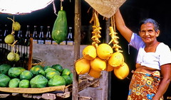 Do you like a fresh coconut or papaya (gerard eder) Tags: world travel reise viajes asia southasia southernasia srilanka market markt mercado städte street stadtlandschaft streetlife paisajes panorama people peopleoftheworld exotic coconuts streetvendor outdoor