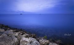 Sea of Fog (Nabeel Iqbal) Tags: al wakra wakrah qatar doha this is camera canon 6d photography beach clouds ocean sea watar motion long exposure fog rainy day raining rocks colors 1740mm landscape seascape souq waqif