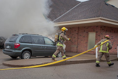 Mini-van Engine Fire in Beamsville (Shane B. Murphy - Photographer) Tags: lincoln fire rescue fd firefighter firefighting photographer vehicle van engine smoke flames police nrp pd niagara region regional service help emergency 911 work news photojournalism action candid canon canon5d 5d mark ii mkii working first responders ontario canada canadian ont beamsville jordan camden vineland wine country rural volunteer pump chief suv led lights