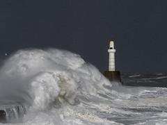 Beast from the East (burnsmeisterj) Tags: olympus omd em1 aberdeen breakwater scotland beastfromtheeast waves lighthouse sea rough snow