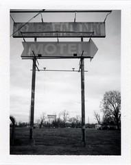 Urbandale, IL (moominsean) Tags: polaroid 190 instant fuji fp3000b illinois urbandale midwest winter gardeninn motel abandoned