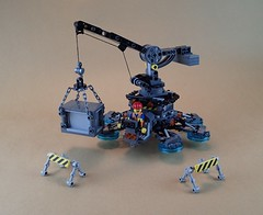 District 18 Public Works Hover Crane ([Clever Lego Reference]) Tags: lego hover crane technic anti gravity levitation future vehicle city cyber punk construction mini figure moc build creation