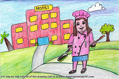 Girl Chef outside Hotel (drawingtutorials101.com) Tags: girl chef outside hotel chefs scenes scene color pencil pencils sketching draw drawing drawings colors coloring how with pan sketch sketches speeddrawing