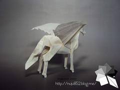 Pegasus (Rydos) Tags: paper origami art hanji koreanpaper korean paperfold fold folding paperfolding designed design model papermodel korea origamilst white kamiyasatoshi kamiya satoshi pegasus horse