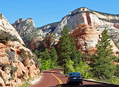 A Most Beautiful Drive, Upper Zion, UT 2014 (inkknife_2000 (9 million views)) Tags: zionnationalpark utah utahhwy9 mtcarmelroad scenicdrives redrockformations nationalparks usa landscapes dgrahamphoto carvedsandstoneformations alpineroads mountainroads utahjuniper trees boulders sandstoneformations bluesky