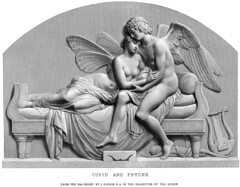 John Gibson (1790-1866) - Cupid and Psyche (18xx) engraving (ketrin1407) Tags: johngibson statue sculpture basrelief engraving cupid eros amour amor psyche nude naked sensual erotic bed couch intimacy embrace lyre harp bow quiver blackandwhite monochrome whitebackground