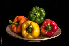 The Bell pepper (Arup De) Tags: bellpeppers red yellow green orange plate dish vegitables color nikon d500 tripod nikkor kitchen capsicum food pepper