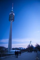 Olympia-Tower (Rohan Valvekar) Tags: landscapes city streetlife munich bavaria bayern deutschland germany evening blues olympiatower olympiaturm