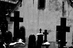 Les croix noires  -  Black crosses  (2) (Philippe Haumesser Photographies (+ 6000 000 view)) Tags: cimetière cimetières cemetery cemeteries croix cross crosses noiretblanc blackandwhite monochrome riquewihr alsace elsass france hautrhin 68 nikond7000 nikon d7000 reflex 2018 neige snow hiver winter