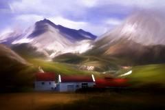 From Iceland. (Tóta. 27.12.1964.) Tags: landscape mountain houses snow grass clouds sky iceland ísland