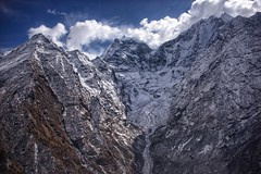 Himalayan Plunge (Timothy Hastings) Tags: himalayas peaks rock stone nature reality nepal copter aerial shot photo everest ama dablam steep ravine gully valley chutes gorge vale cliff crag shear walls