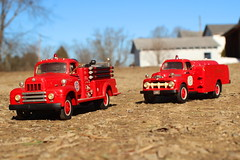 1950s warriors responding! (cheliman) Tags: firetrucks diecast 1stgear models collection 1950s vintage firedepartment responding nwpa pa toys fire outdoors sunny cold morning scalemodel 143rd