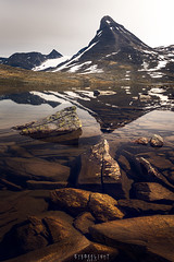 Kyrkja reflections (Ron Jansen - EyeSeeLight Photography) Tags: jotunheimen norway summer mountain top shape peculiar kyrkja leirvassbu fjellstue snow rocks water reflection hike hiking stones stone rock