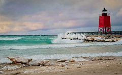 Ice along the Sand (T P Mann Photography) Tags: pier lighthouse sea lake charlevoix michigan shore beach ice