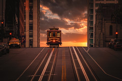 San Francisco sunset (reinaroundtheglobe) Tags: sanfrancisco california californiastreet usa city streetphotography street road cablecar tourism sunset sunrise buildings nopeople cars moody