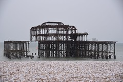Brighton 19 March 2018 027 (paul_appleyard) Tags: brighton march 2018 pier west beach ruin ruined snow snowy snowcovered pebbles