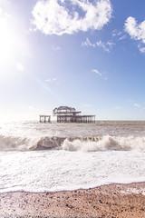 Crashing waves by the West Pier, Brighton *3* (Zoë Power) Tags: westpier beach uk brighton derelict blueskies coast sea seaside