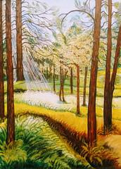 Ray of Sunshine in the Forest (happyespi17) Tags: art oiloncanvas atlantaartist cubanartist painting sun sunshine nature
