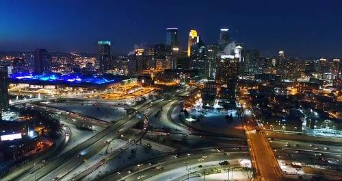 Minneapolis Skyline & Traffic at Night - Aerial VIew in 4K