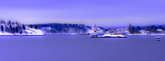 Guidance (evakongshavn) Tags: ocean oslofjord oslo akerbrygge lighthouse purple blue bluetiful bluehour water sea new light white snow winter winterwonderland wordsofwisdom blahblahscape blahblah