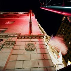 Hotel Sainte Claire (bior) Tags: sanjose downtownsanjose longexposure night downtown hasselblad500cm distagon mediumformat 120 6x6cm kodakportra portra neon flag hotel hotelsainteclaire