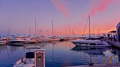 Pretty in Pink - Limassol, Cyprus (Andreas Komodromos) Tags: awesome beautiful boat bright clouds color colorful cyprus limassol marina mediterranean pier project scenic sea seafront sky sunlight sunset travel vacation water waterfront winter yacht peaceful moody mood serene port sony6000 mirroless landscape seascape