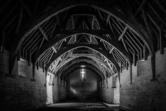 The Tithe Barn (Alan E Taylor) Tags: agriculture arch architecture atmospheric bw barn blackwhite blackandwhite bradfordonavon building countryside dark dramatic england europe farm fineart lightroom macphun macphuntonalityck mono monochrome noiretblanc skylum timber tourism tourist travel uk unitedkingdom wiltshire archway britain british english heritage historical history interior medieval old traditional vintage wood wooden