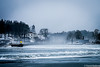 Ice and mist (flightlevel000) Tags: ice river sweden water port sea ocean boat clock tower forest house
