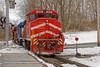 Working the North Bennington Interchange (HDR's Photos) Tags: railfanning freighttrain vermontrailsystem greenmountainrailroad trains emdsd70m2 emdsd60 northbenningtonvt winter snow landscape railroadtracks railroadstation