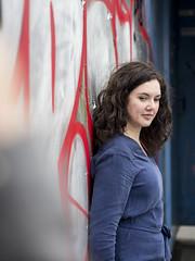 Laura, Amsterdam 2018: Pensive beauty (mdiepraam) Tags: laura amsterdam 2018 ndsm portrait pretty attractive beautiful elegant classy gorgeous dutch brunette girl woman lady naturalglamour curls dress graffiti urbex
