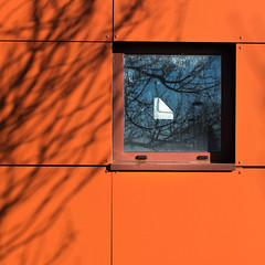 colore (godelieve b) Tags: couleurs colors orange fenêtre window lines sticky etiquette ombres ombrages shadow minimal abstract carré square