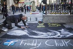 20180302_F0001: A street chalk artist (wfxue) Tags: performer streetartist artist busking drawing chalk pavement dog chinese newyear lunarnewyear animal 2018 people road street candid