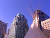 Tipi in front of Cathedral Place, Vancouver (Jac Hardyy) Tags: tipi front cathedral place vancouver downtown canada kanada bc sky british columbia blue city architecture architektur himmel blau building buildings skyscraper gebäude skyscrapers wolkenkratzer