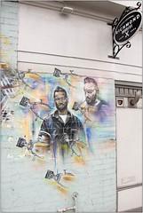 Richmond Barbers (Mabacam) Tags: 2018 london richmond richmonduponthames streetart wallart urbanart publicart spraycanart aerosolart painting paint mural freehand graffiti urbanwall wall stencil stencilling pauldonsmith portraits barbers