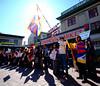 Tibet protest at Pike Place Market (@GilAegerter / klahini.com) Tags: fujifilm fujifilms3pro sigma1020mmf456 sigma tibet china dalailama seattle pikeplacemarket pikeplacepublicmarket sunflare flare protest shadows