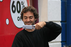 60% off (Frank Fullard) Tags: frankfullard fullard candid street portrait colour color bargain selfie happy smile smling galway irish ireland red white blue