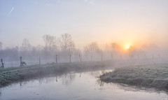 Sunrise With Fog (Martine Lambrechts) Tags: sunrise with fog landscape morning nature misty
